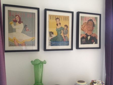 our vintage home 1950s magazine covers on wall