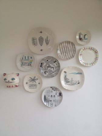 our vintage home 1950s plates on wall