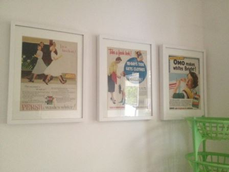 our vintage home 50s cleaning adverts on wall