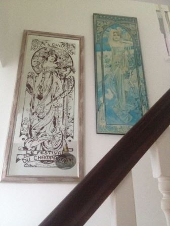 our vintage home Mucha prints