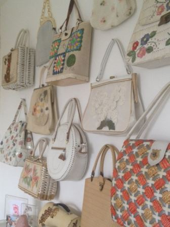 our vintage home vintage bags on walls