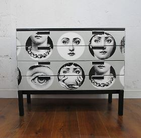 Fornasetti eBay wallpaper upcycled furniture styling tips via Your Vintage Life by Kate Beavis