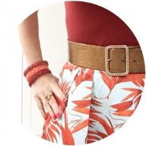 Vintage 1930s bangles and vintage belt with H&M skirt on Kate Beavis Vintage Home blog