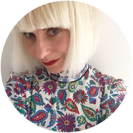 Blonde bob hair and Marks and Spencer Alexa dress on Kate Beavis Vintage Home blog