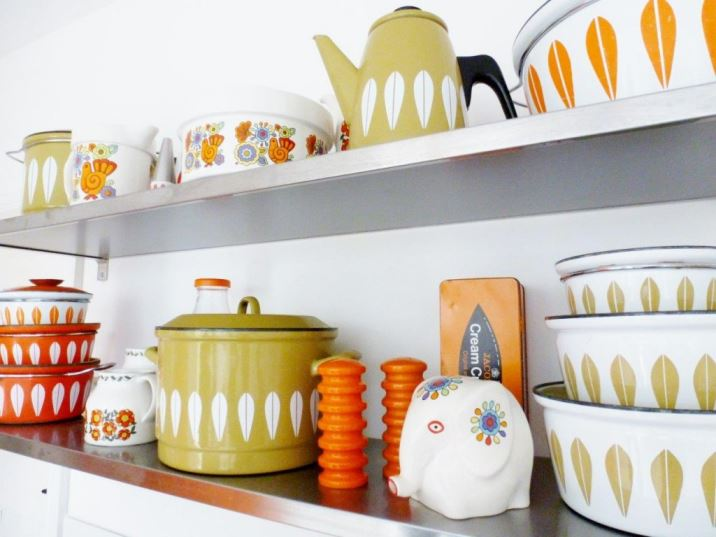 Vintage Cathroneholm green kitchenware as featured on Kate Beavis Vintage Home blog