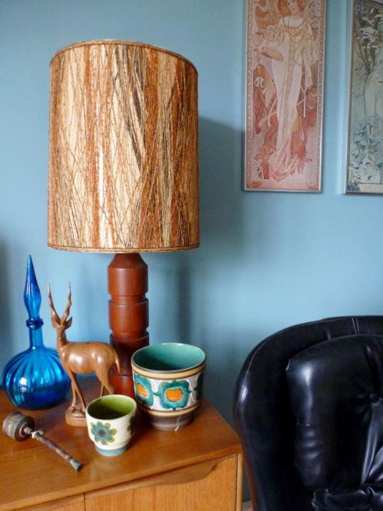 1970s teak lamp vintage retro mid century as seen on Kate Beavis Home blog