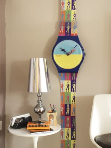 Swatch wall clock as featured on Kate Beavis Vintage Home blog