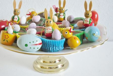 vintage cake stand for easter from Kate Beavis