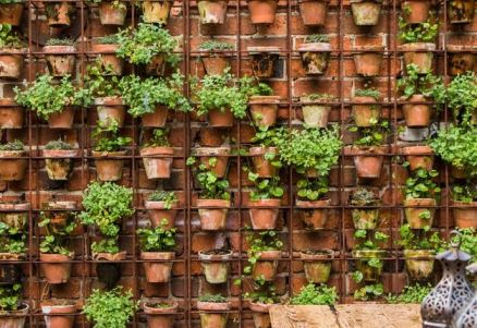 wall of terracotta pots Small space Garden ideas via www.yourvintagelife.co.uk