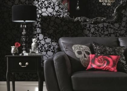 Vintage Styling Tips -Skulls wallpaper by Barbara Hulanicki - gothic fashion for halloween via Your Vintage Life by Kate Beavis