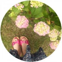 Pink Birkenstocks on Kate Beavis Vintage Home blog