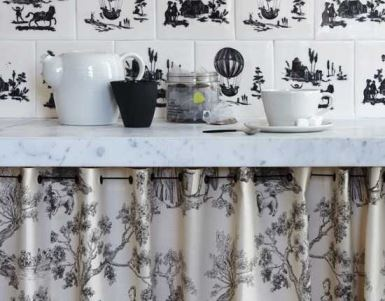 Vintage Styling Tips - curtains - curtain under counters worktops via Your Vintage Life by Kate Beavis