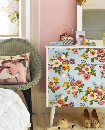 vintage wallpaper chest of drawers from Kate Beavis