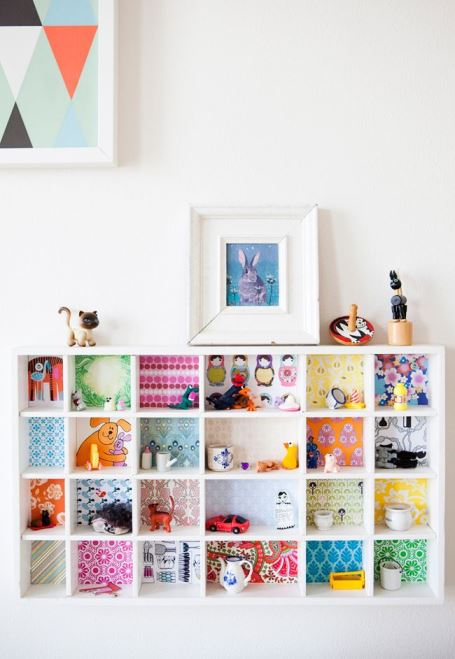 vintage wallpaper shelves from kate Beavis