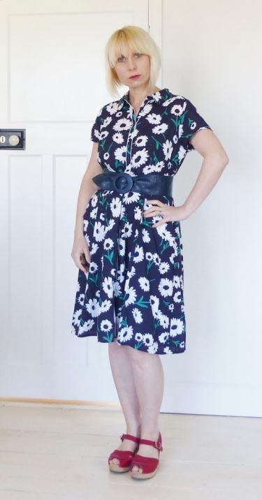 Tu at Sainsburys Vintage Style dress  worn with vintage accessories  plus Lotta of Sweden clogsby Kate Beavis