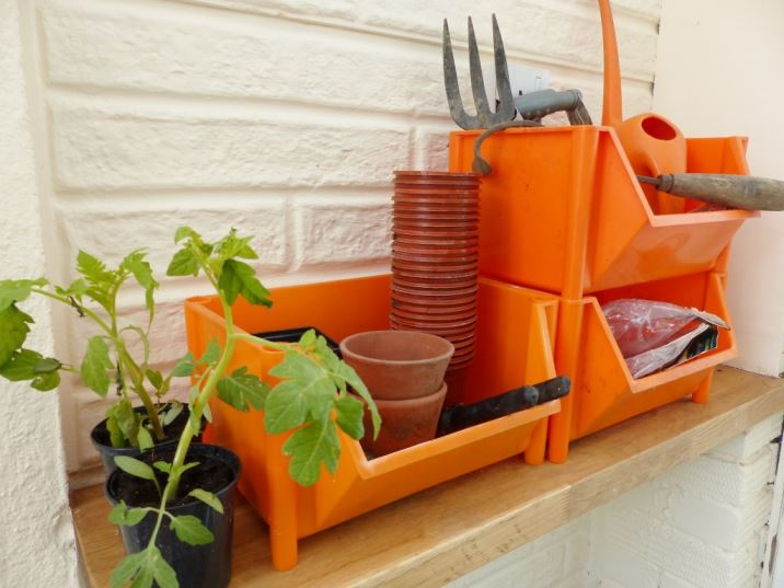 vintage potting shed using vegetable racks by Kate Beavis