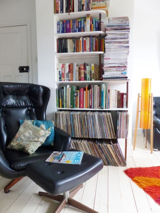 vintage retro living room with handmade shelving unit by Kate Beavis