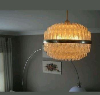 Mid century vintage glass lamp shade as seen on Kate Beavis Home blog