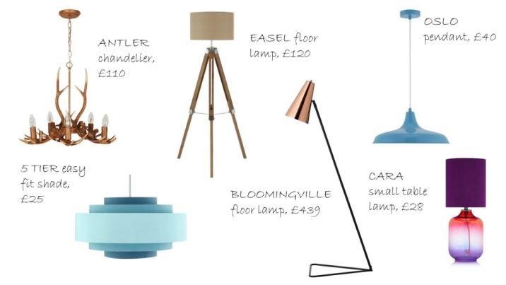 Vintage inspired lighting by Next as seen on Kate Beavis Home blog