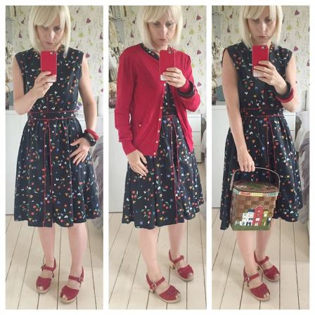 Vintage cherry 1950s dress, Lotta from Stockholm clogs fashion worn by Kate Beavis
