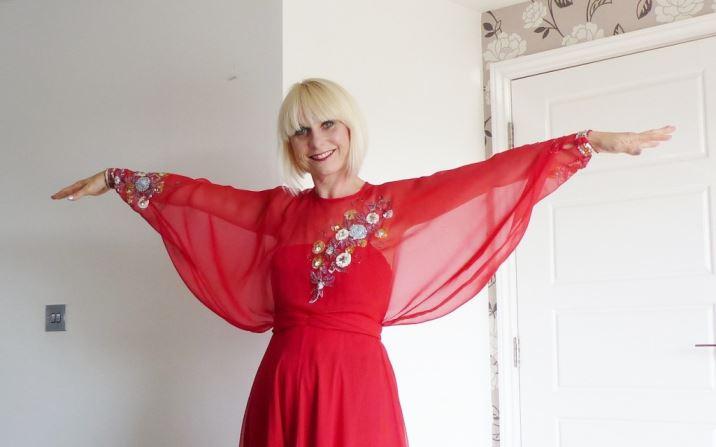 John Bates for Jean Varon Vintage 1970s maxi dress worn by Kate Beavis at The National Vintage Awards 2015