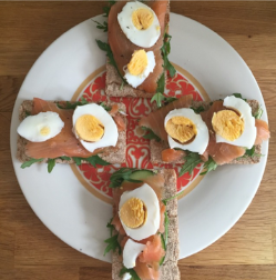 salmon eggs on crackers on Royal Doulton plate as seen on Kate Beavis blog