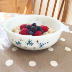vegan almond milk porridge in vintage Pyrex on Kate Beavis blog