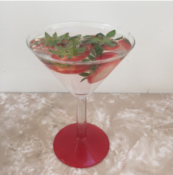 Strawberry water in vintage cocktail glasses as seen on Kate Beavis blog