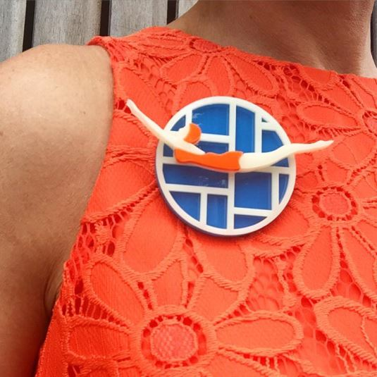 Art Deco style bather brooch by Lou Taylor worn by Kate Beavis