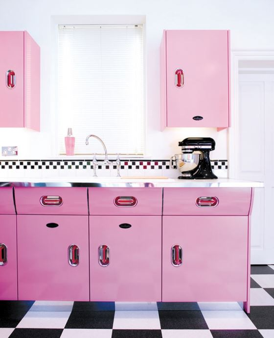 John Lewis of Hungerford English Rose 1950s vintage inspired kitchen as featured on Kate Beavis Vintage Home blog pink version