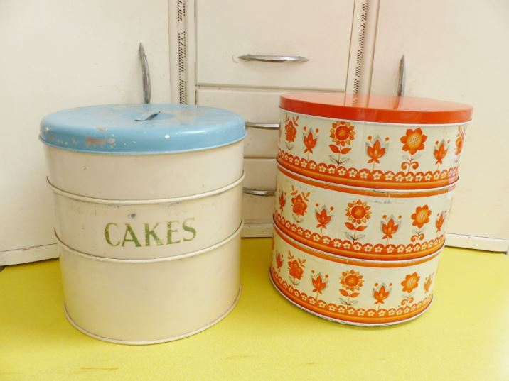 Vintage orange 1960s three tiered cake tin as featured on Kate Beavis Vintage Home blog plus a 1940a Tala version
