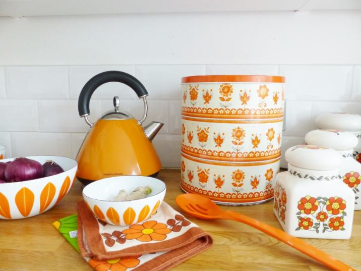 Vintage orange 1960s three tiered cake tin as featured on Kate Beavis Vintage Home blog