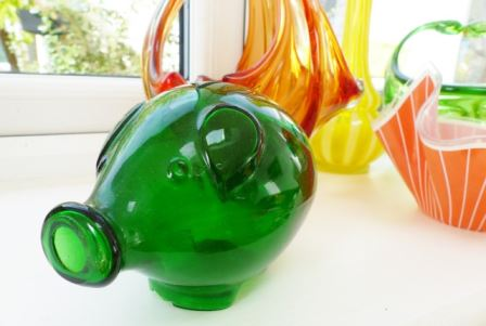 Vintage glass Swedish piggy bank as featured on Kate Beavis Vintage Home blog