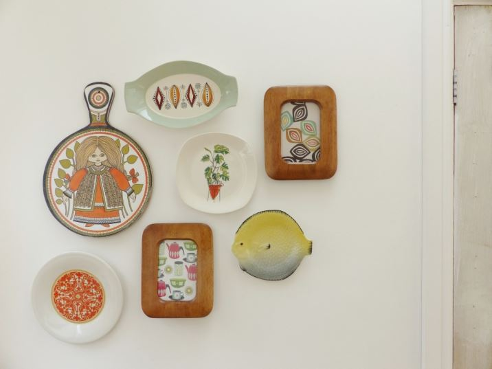 Vintage retro wall art picture collage as seen in Kate Beavis Vintage Home blog: plates