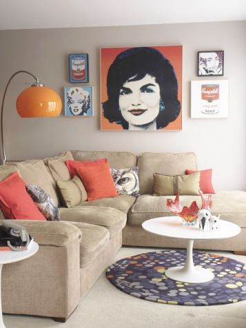 1980s 1960s lounge as featured in Style Your Modern Vintage Home by Kate Beavis, photo taken by Simon Whitmore