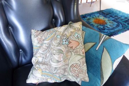Vintage cushions s featured on Kate Beavis Vintage Home blog incl William Morris fabric