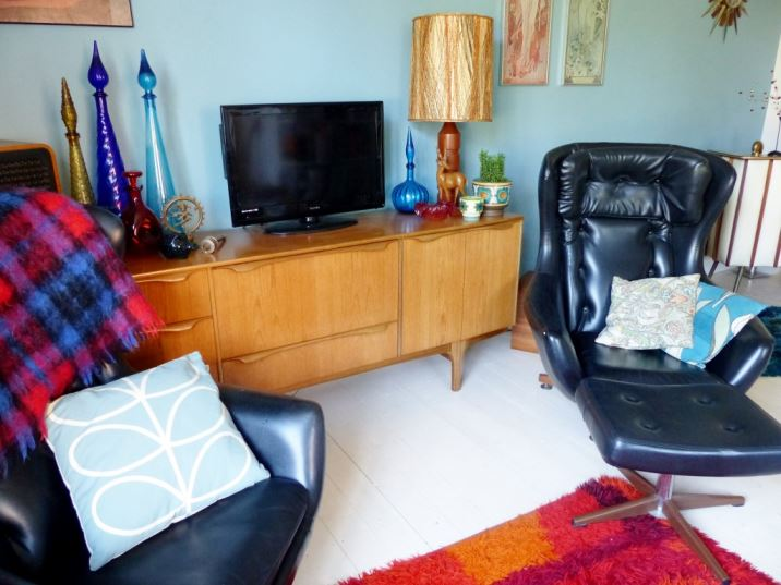 Vintage mid century lounge living room as featured in Kate Beavis Vintage Home