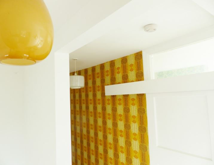 Vintage 1950s wallpaper and lights as featured in Kate Beavis Vintage Home blog