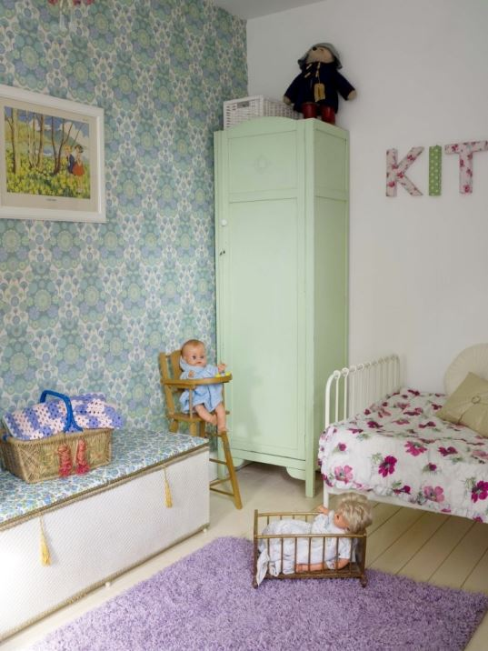 Vintage little girls bedroom with vintage wallpaper as featured on Kate Beavis Vintage Home blog