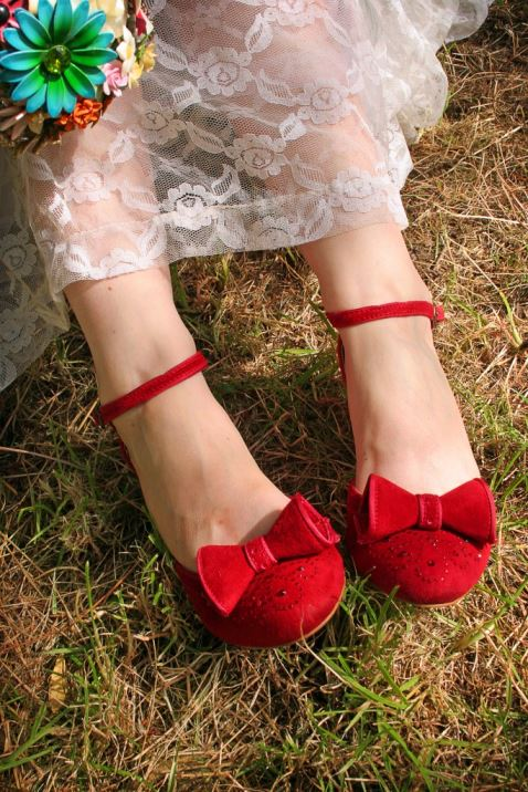 Vintage style Miss L Fire red shoes as worn at Kate Beavis Vinatge wedding