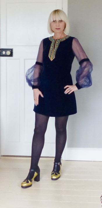 Vintage 1960s velvet mini dress and Orla Kiely shoes worn to the Cosmopolitan Blog Awards by Kate BEavis