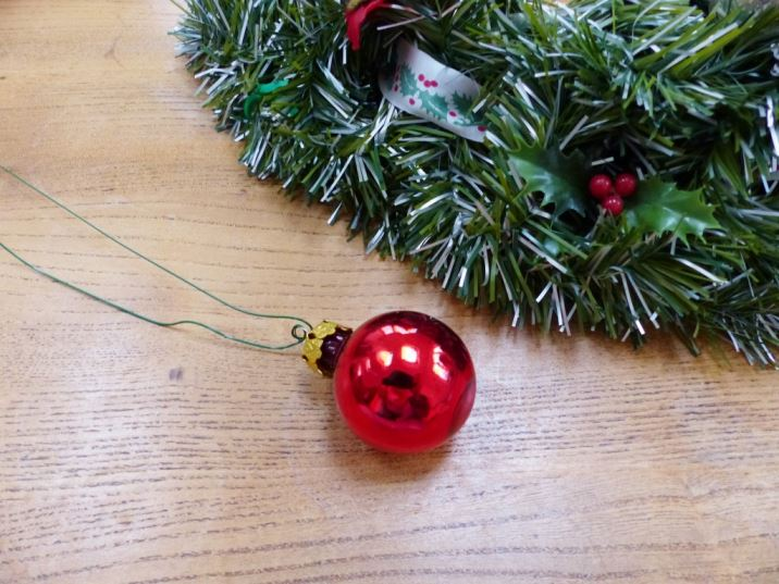 Vintage Christmas bauble wreath as featured on Kate Beavis Vintage Home blog
