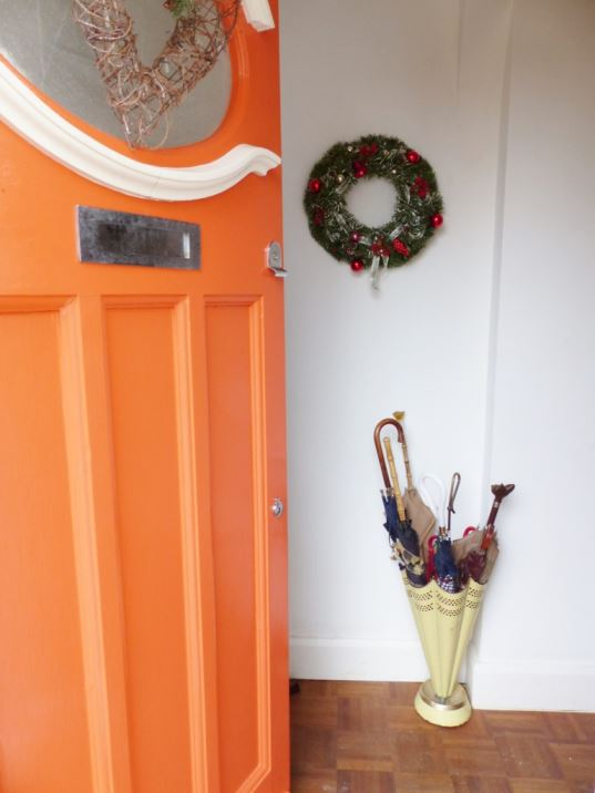 vintage Christmas wreath and front door as featured on Kate Beavis Vintage Home blog