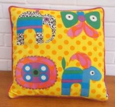 Vintage cushion by Pineapple Retro as featured on Kate Beavis Vintage Home blog