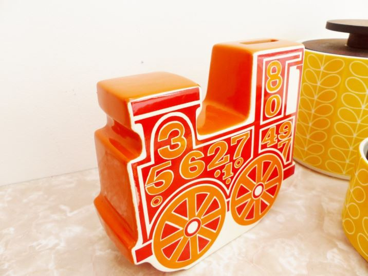 Carltonware vintage piggy bank train as featured on Kate Beavis Vintage Home blog