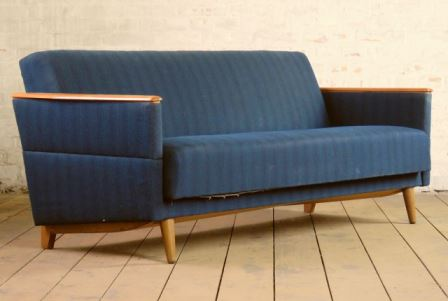 mid century sofa bed as seen on Kate Beavis Vintage Home blog