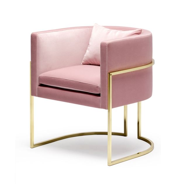 Openplan Living pink velvet chair as featured on Kate Beavis VIntage Home blog