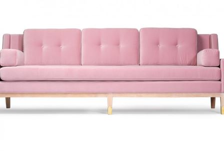 Openplan Living pink velvet sofa as featured on Kate Beavis VIntage Home blog