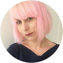 Kate Beavis with pink hair bob