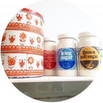 Vintage Lord Nelson sugar storage jars and orange cake tin
